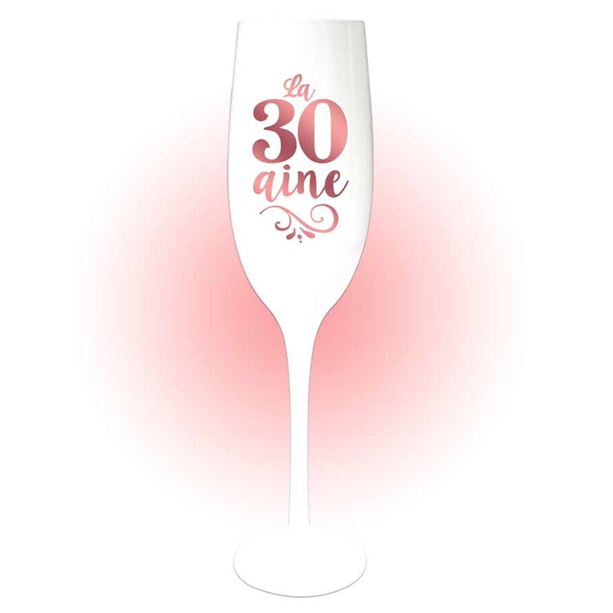 Coupe flute à champagne \'30 aine\' blanc doré rosé (gold pink) - 24x5 cm - [Q8396]