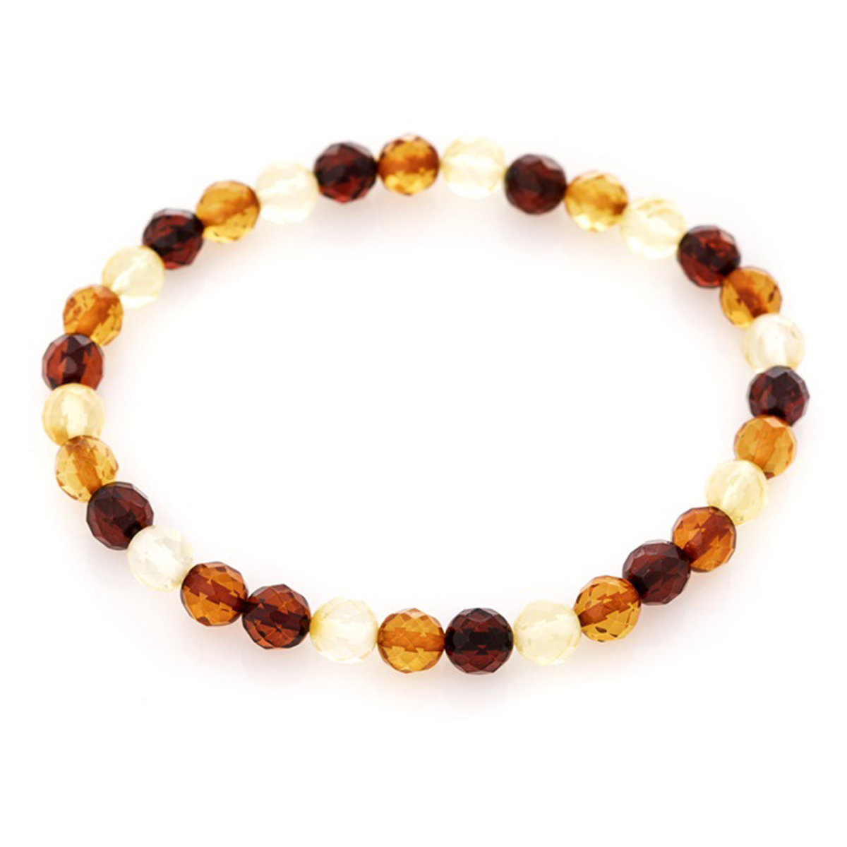 Bracelet \'Inspiration\' ambre 3 tons - 6 mm - [R3695]