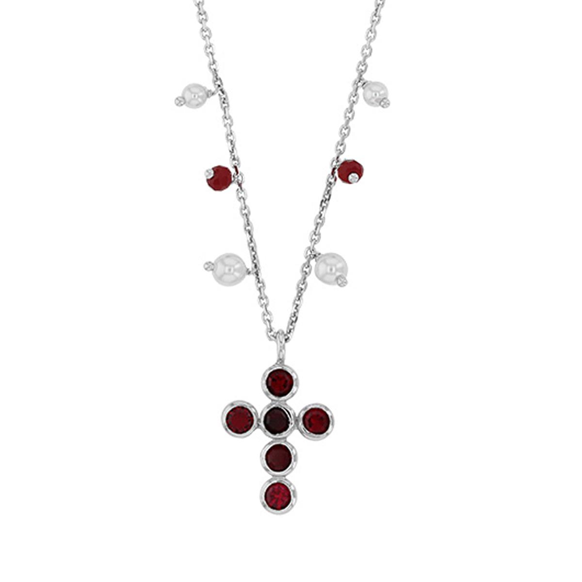 Collier Argent artisanal \'Croix Gypsy\' rouge argenté (rhodié) - 17x13 mm - [R4955]