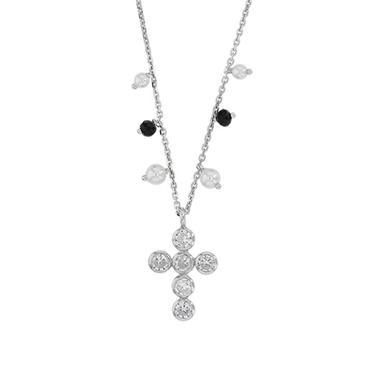Collier Argent artisanal \'Croix Gypsy\' blanc noir argenté (rhodié) - 17x13 mm - [R4956]