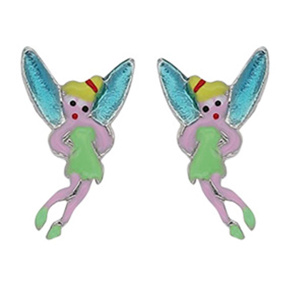 Boucles d\'oreilles artisanales argent \'Fée Clochette\' vert bleu - 10x8 mm - [R5445]