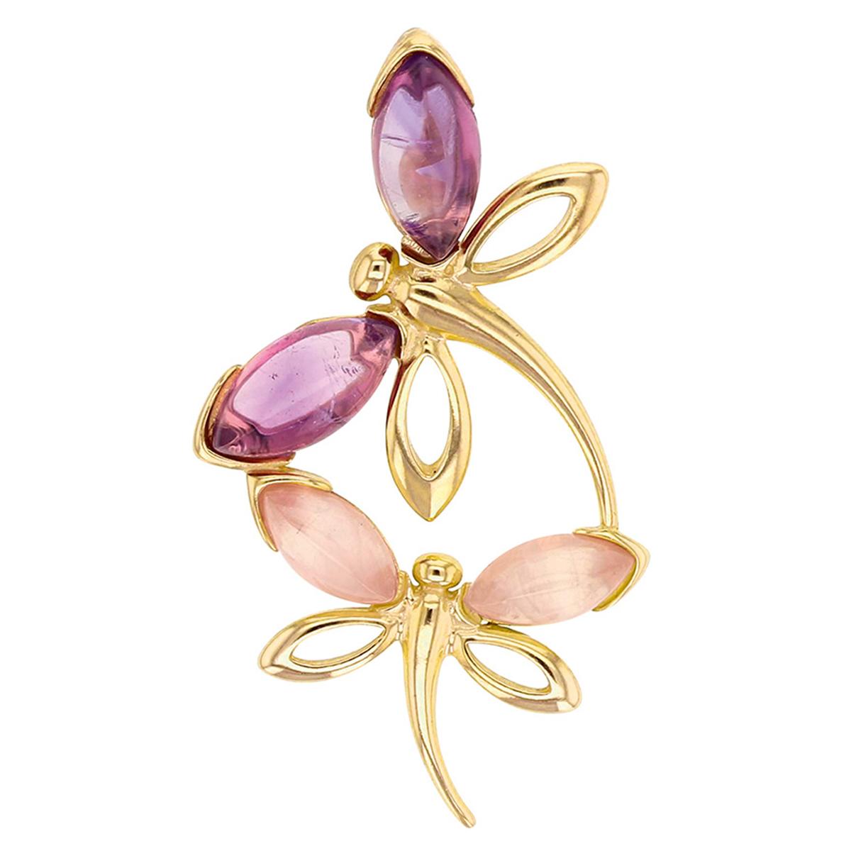 Pendentif Argent artisanal \'Meghan\' rose violet doré (Libellule) - 40x20 mm - [R5448]
