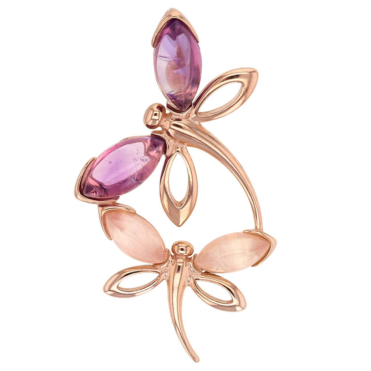 Pendentif Argent artisanal \'Meghan\' rose violet rosé (Libellule) - 40x20 mm - [R5449]