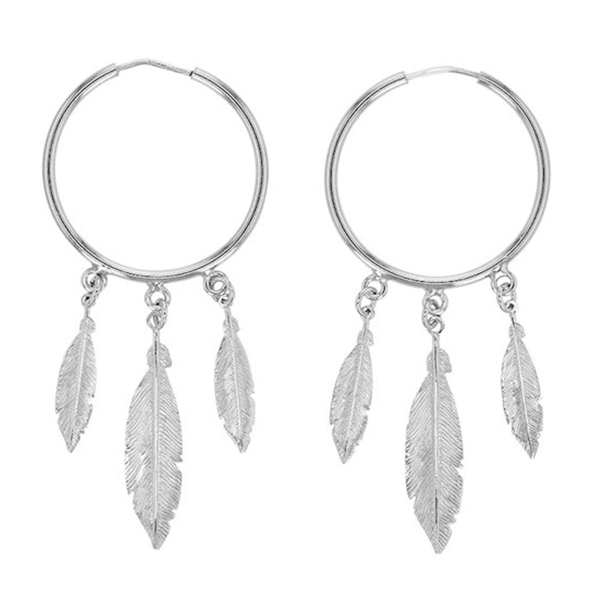Boucles d\'oreilles artisanales Argent \'Navajos\' argenté (rhodié) - 30 mm, 30x8 mm - [R5465]