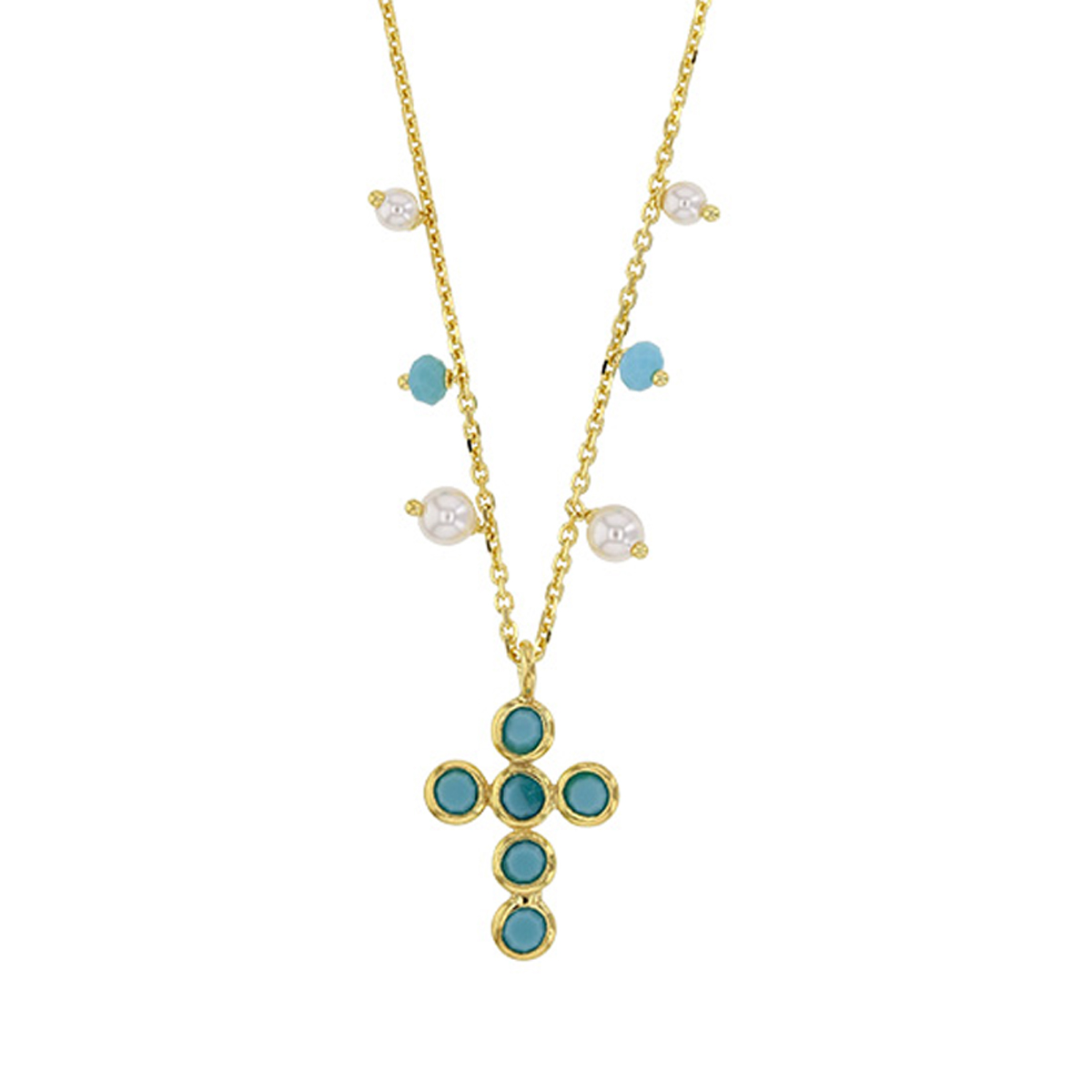Collier Argent artisanal \'Croix Gypsy\' turquoise doré - 17x13 mm - [R5469]