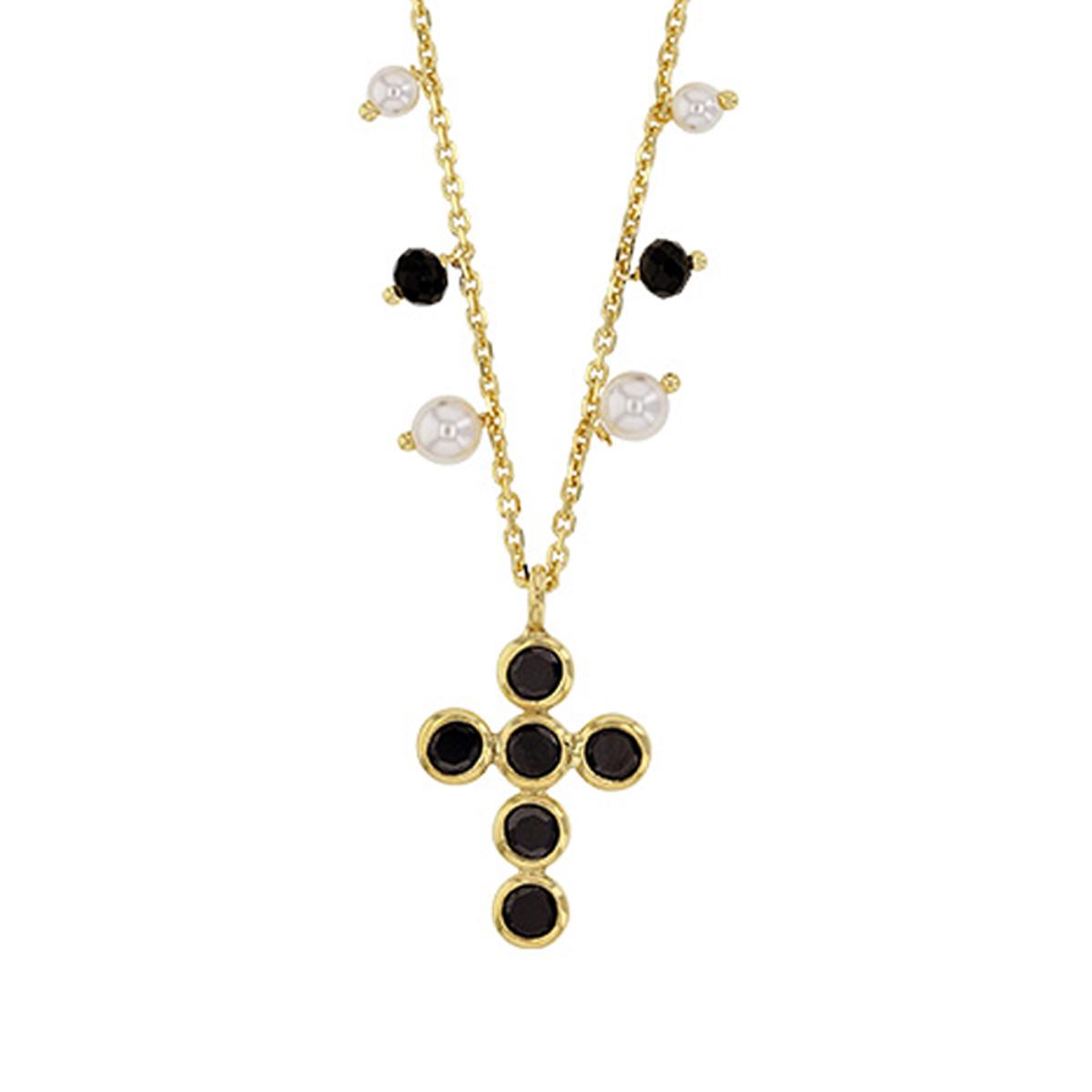 Collier Argent artisanal \'Croix Gypsy\' noir doré - 17x13 mm - [R5470]
