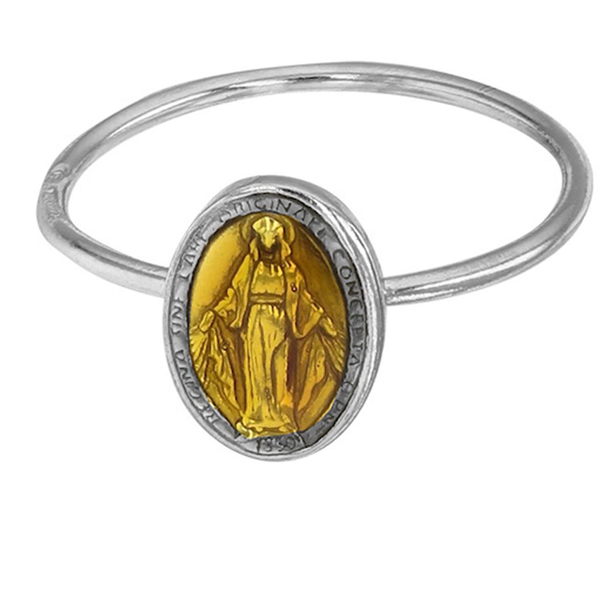 <Bague artisanale Argent \'Vierge Marie\' jaune argenté (rhodié) - 10x8 mm - [R5502]