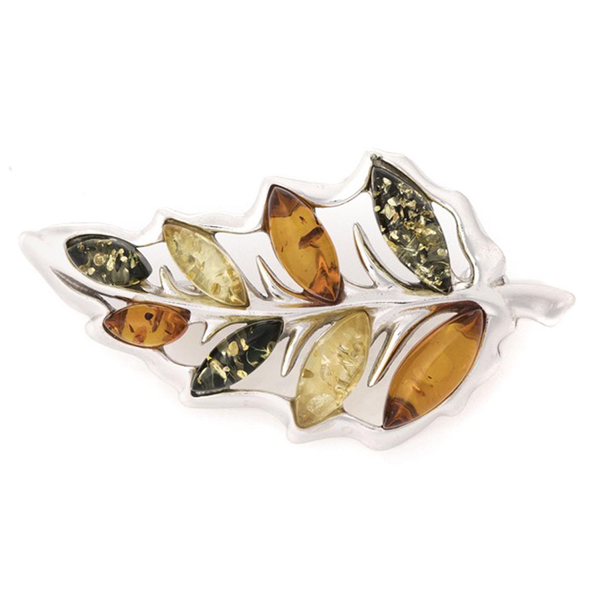 Broche Argent \'Inspiration\' ambre 3 tons argenté (rhodié) - 40x20 mm (feuille) - [R5518]