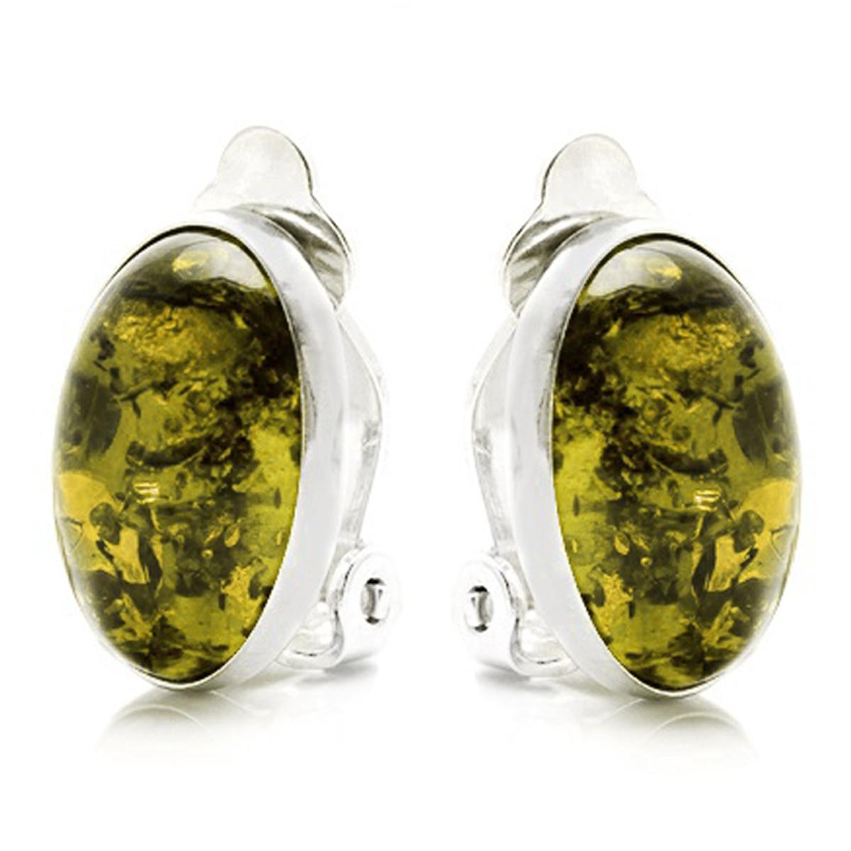 Clips Argent \'Inspiration\' ambre vert argenté (rhodié) - 14x10 mm - [R5519]