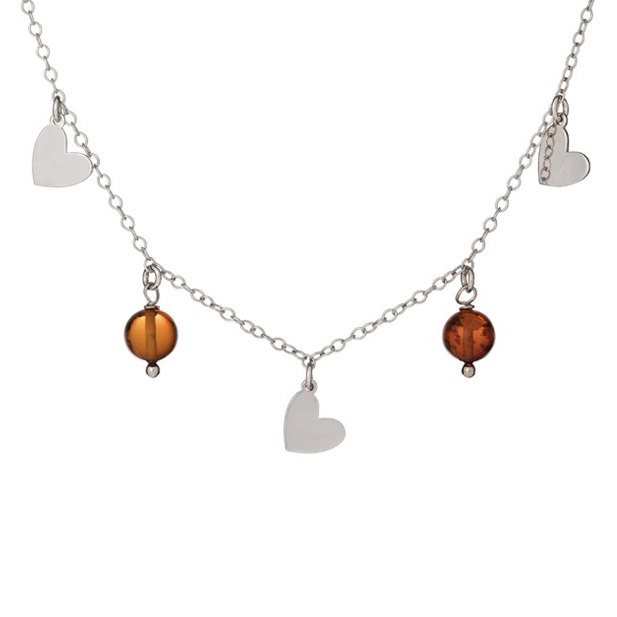 Collier argent artisanal \'Inspiration\' ambre cognac - coeurs 7 mm, perle 5 mm - [R5547]