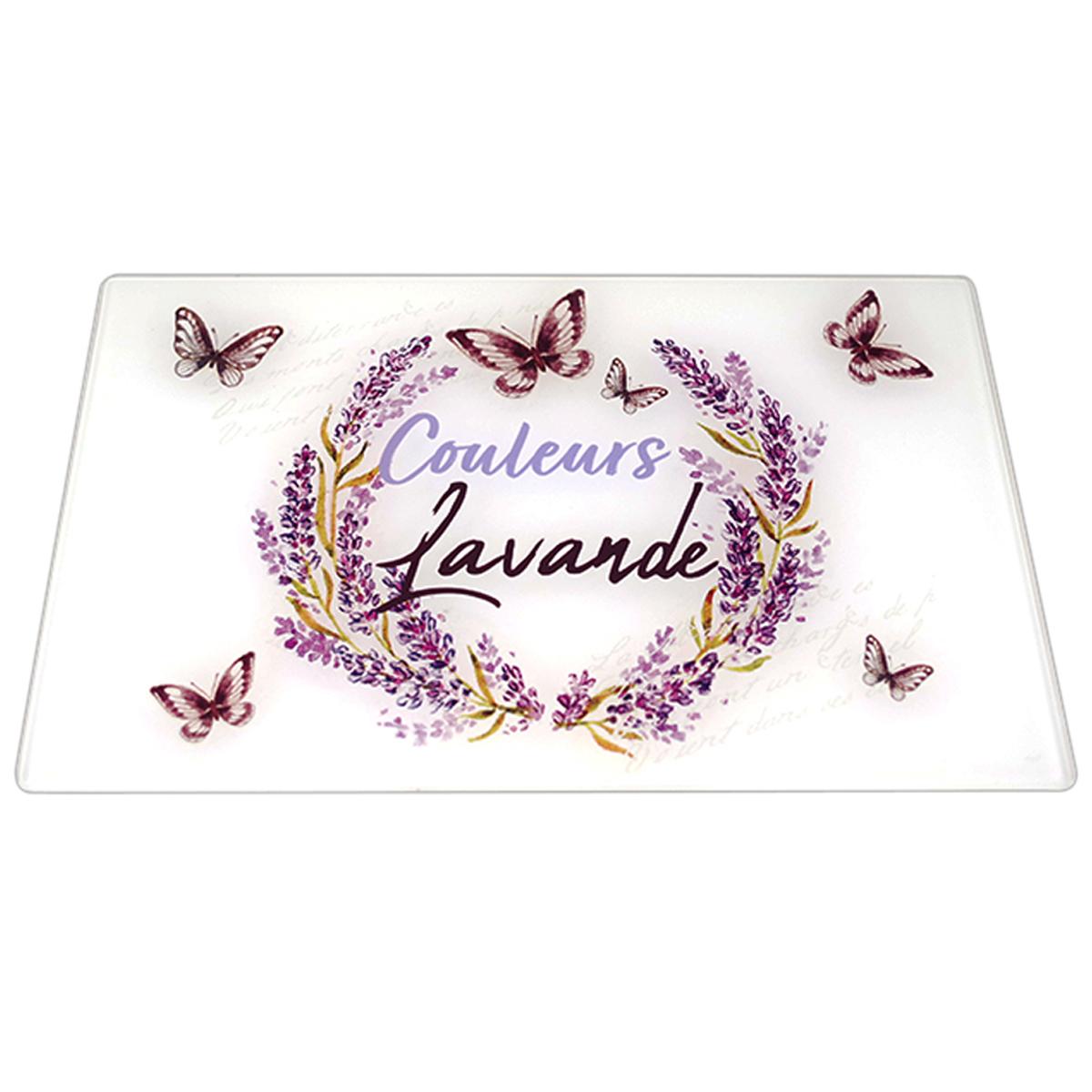 Planche à découpe / dessous de plat verre  \'Couleurs Lavande\' violet blanc - 30x20 cm - [A0026]