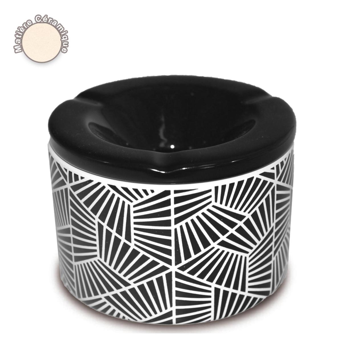 Cendrier marocain céramique \'Boho\' noir - 10x7 cm - [A0559]