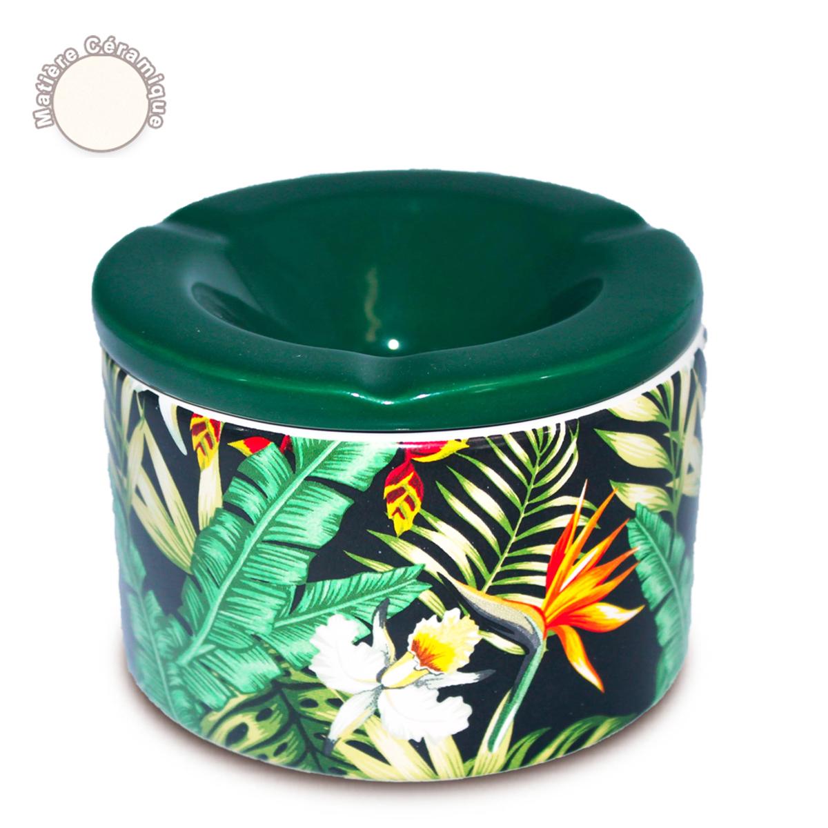 Cendrier marocain céramique \'Tropical\' vert - 10x7 cm - [A0560]