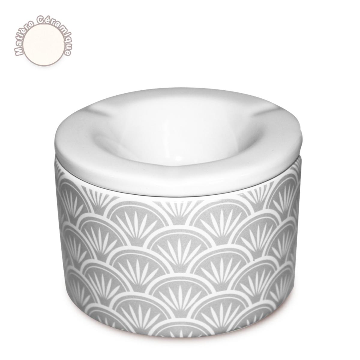 Cendrier marocain céramique \'Boho\' gris (éventails) - 10x7 cm - [A0562]