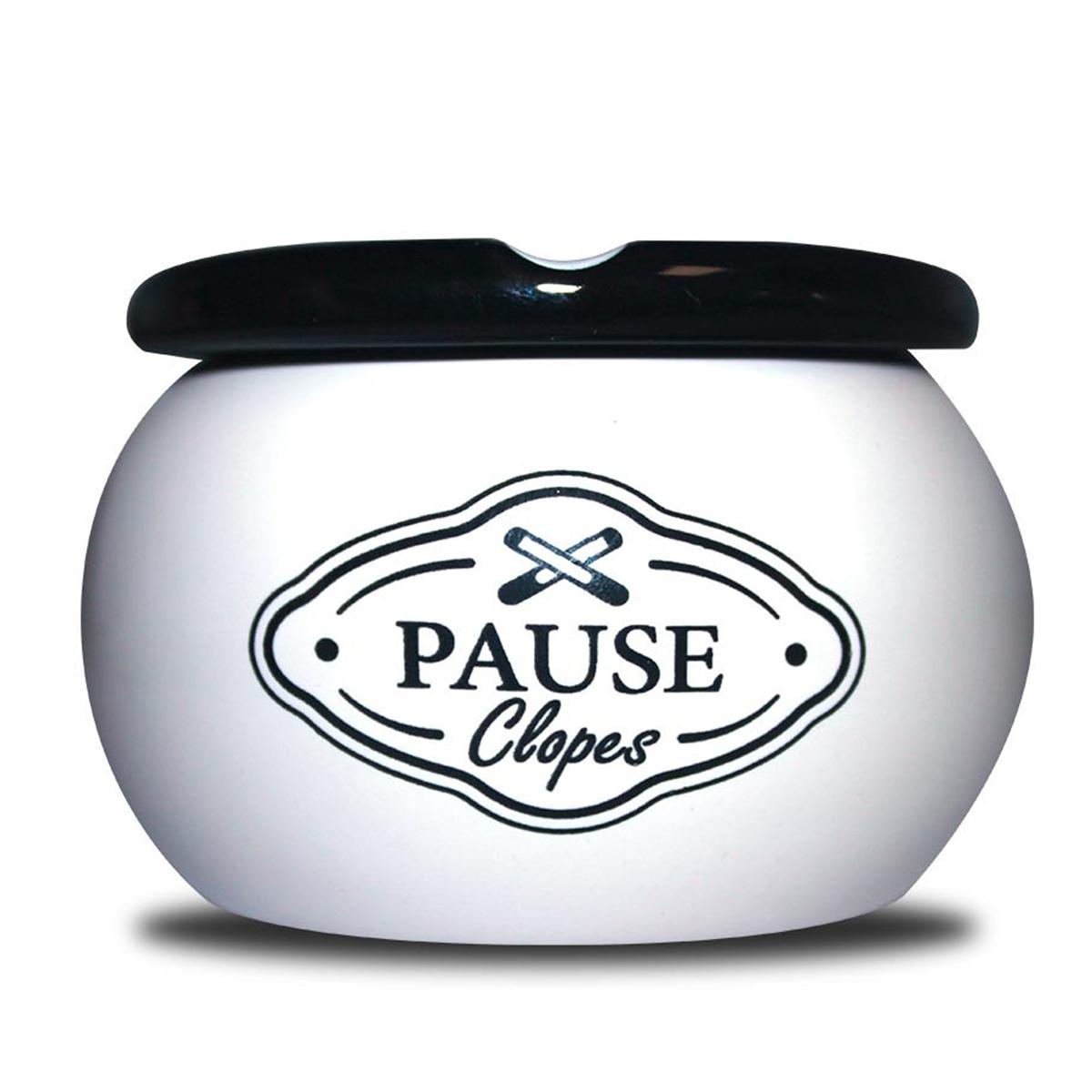 Cendrier marocain céramique \'Messages\' blanc (Pause Clopes) - 9x6 cm - [A0567]