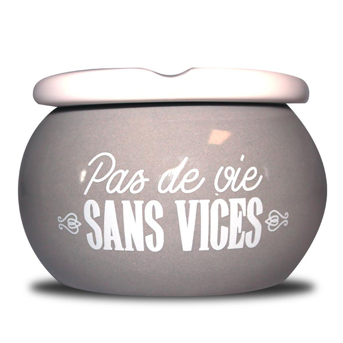 Cendrier marocain céramique \'Messages\' gris (Pas de vie sans vices) - 9x6 cm - [A0568]