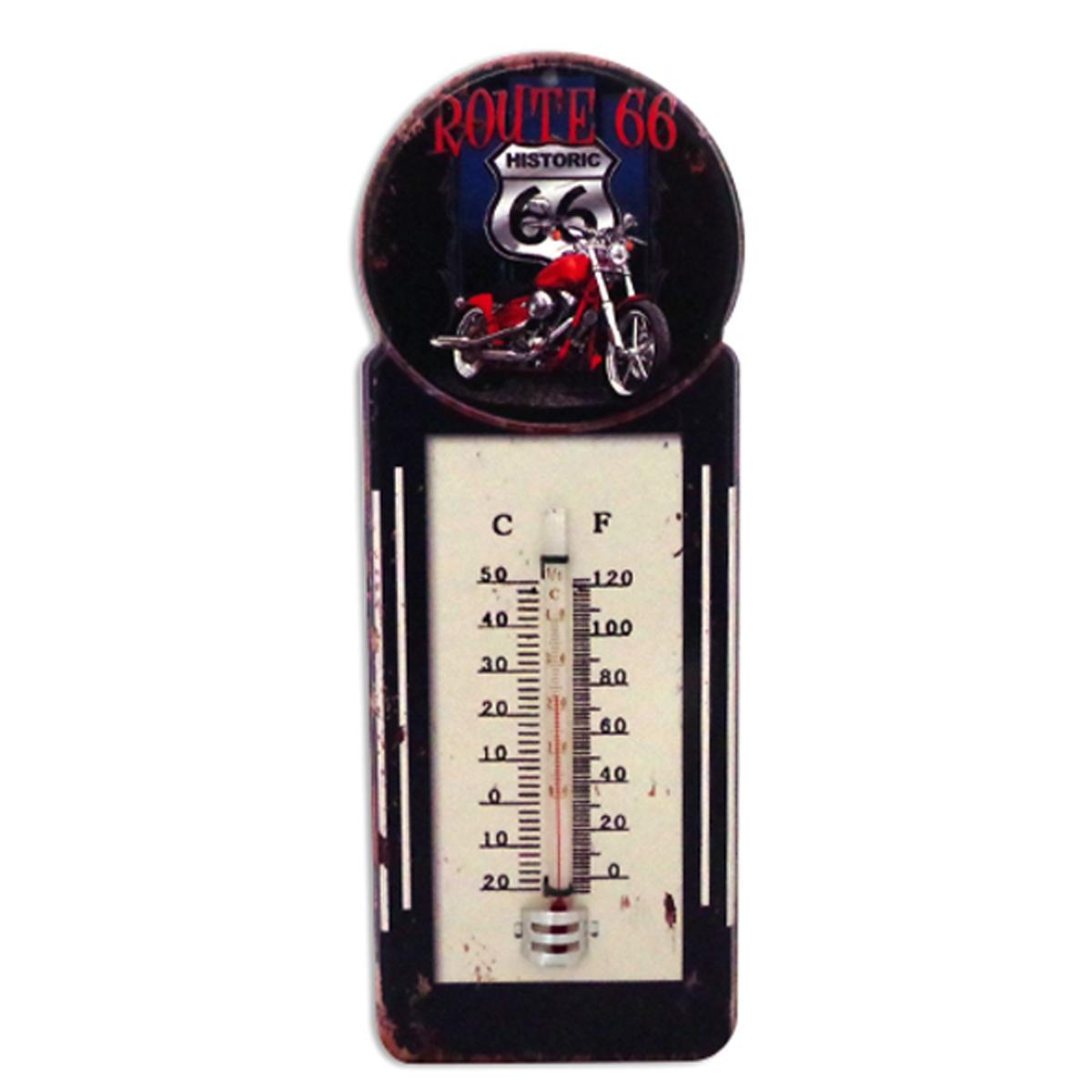 Thermomètre métal vintage \'Route 66\' noir - 29x10 cm - [A1132]