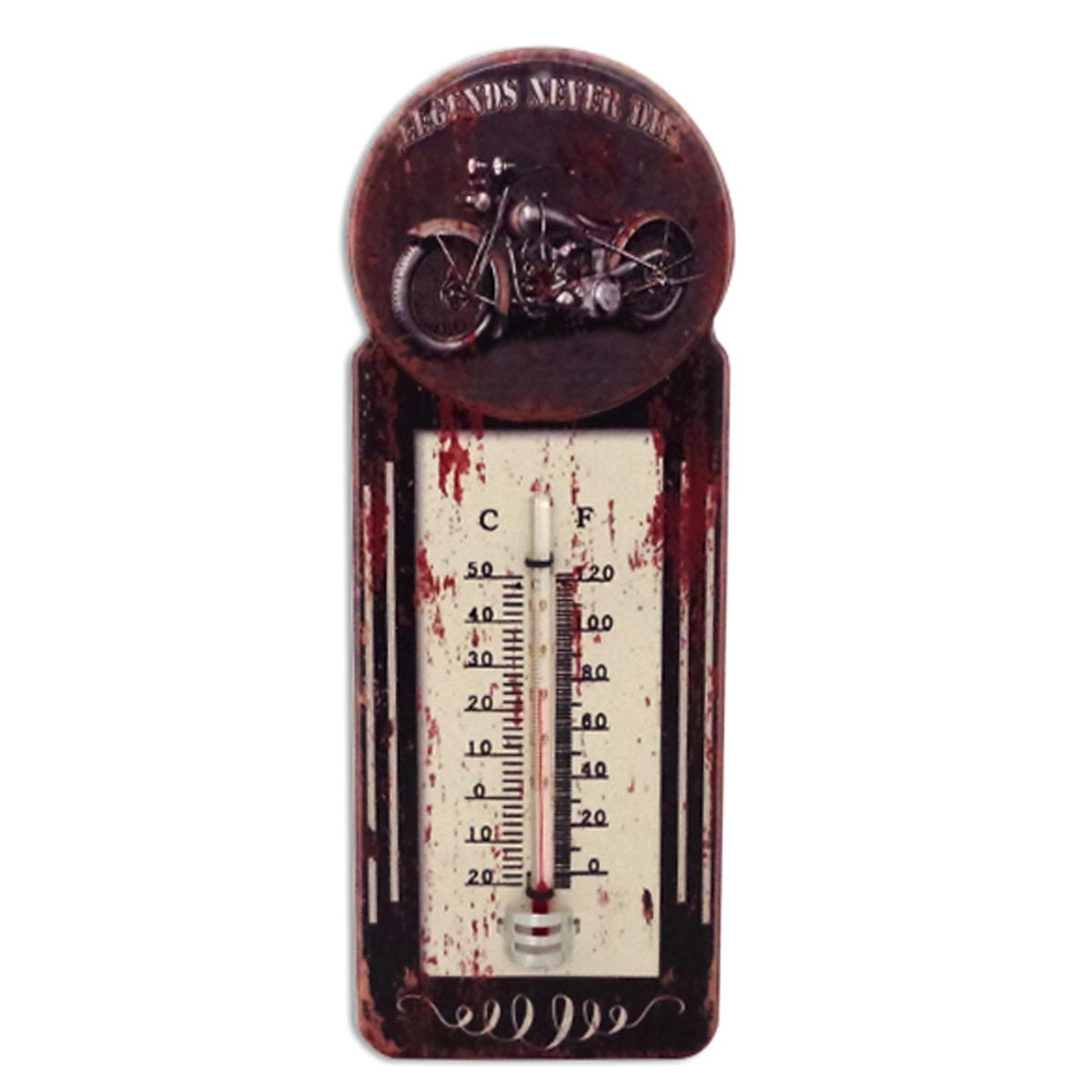 Thermomètre métal vintage \'Legends never die\' marron - 29x10 cm - [A1133]