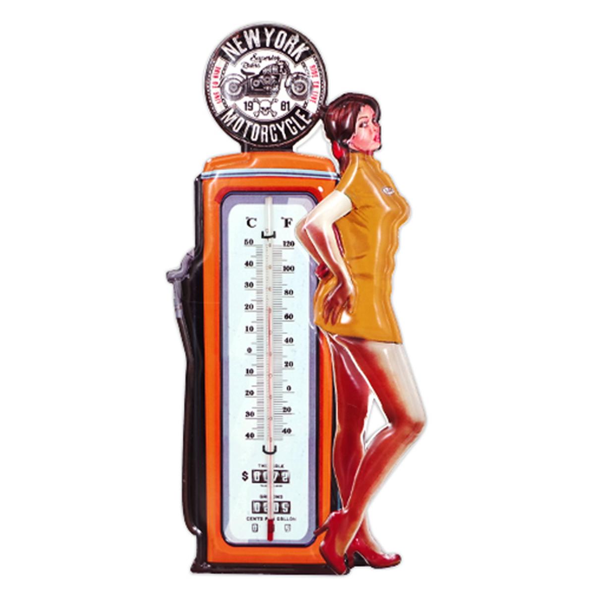 Thermomètre métal vintage \'New York Motorcycle\' pompe à essence - 48x23 cm - [A1134]