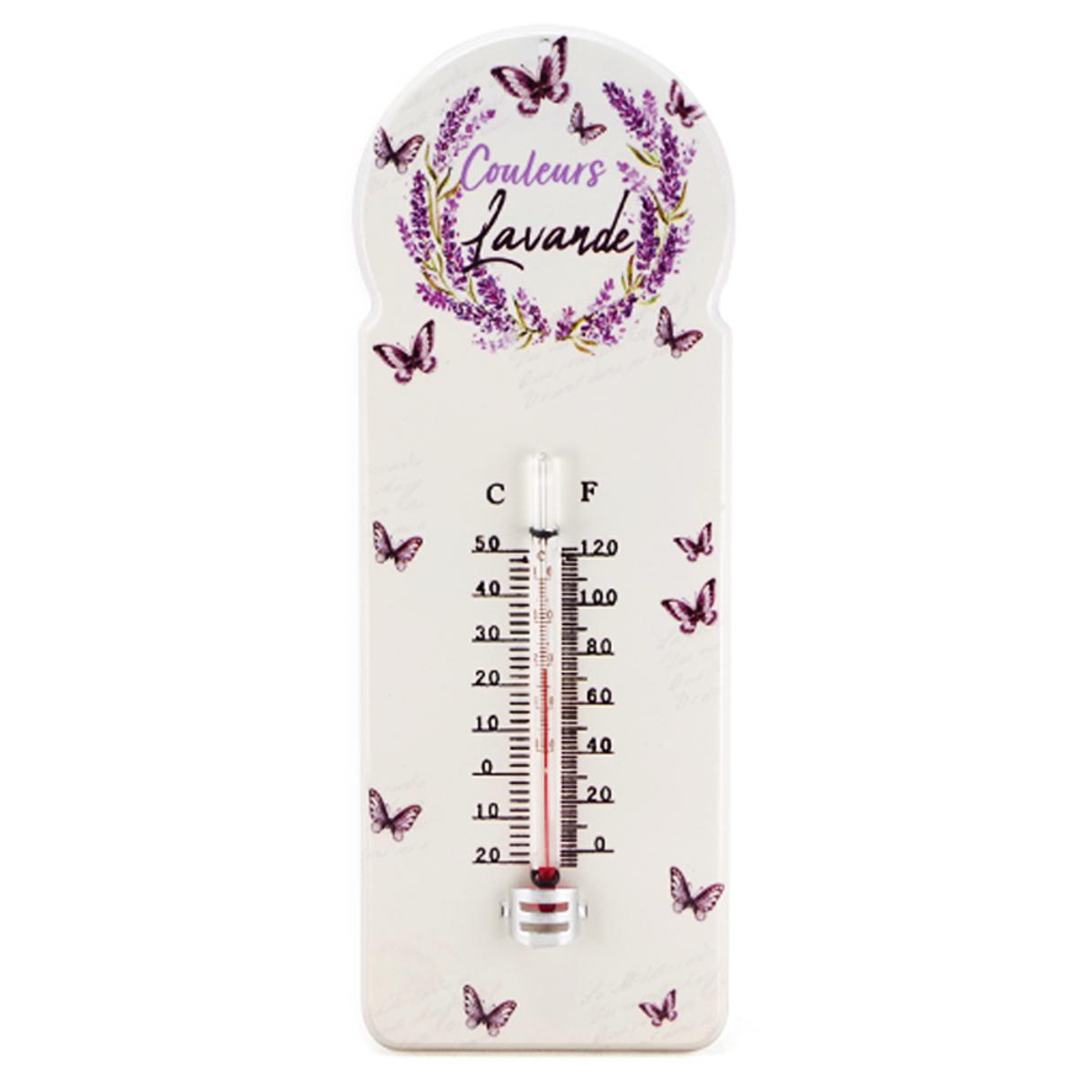 Thermomètre métal vintage \'Couleurs Lavande\' violet ivoire - 29x10 cm - [A2460]