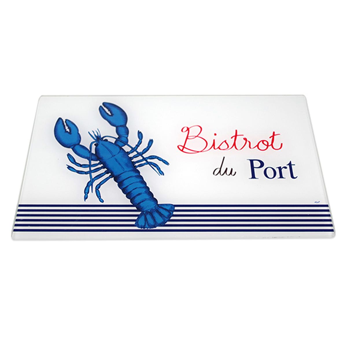 Planche à découpe / dessous de plat verre  \'Bistrot du Port\' bleu blanc (homard) - 30x20 cm - [A2468]