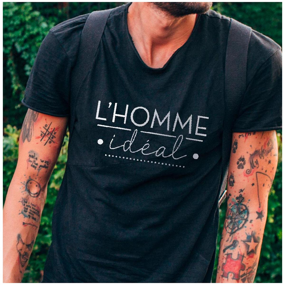 T-shirt coton \'l\'Homme Idéal\' noir - taille L - [A2717]