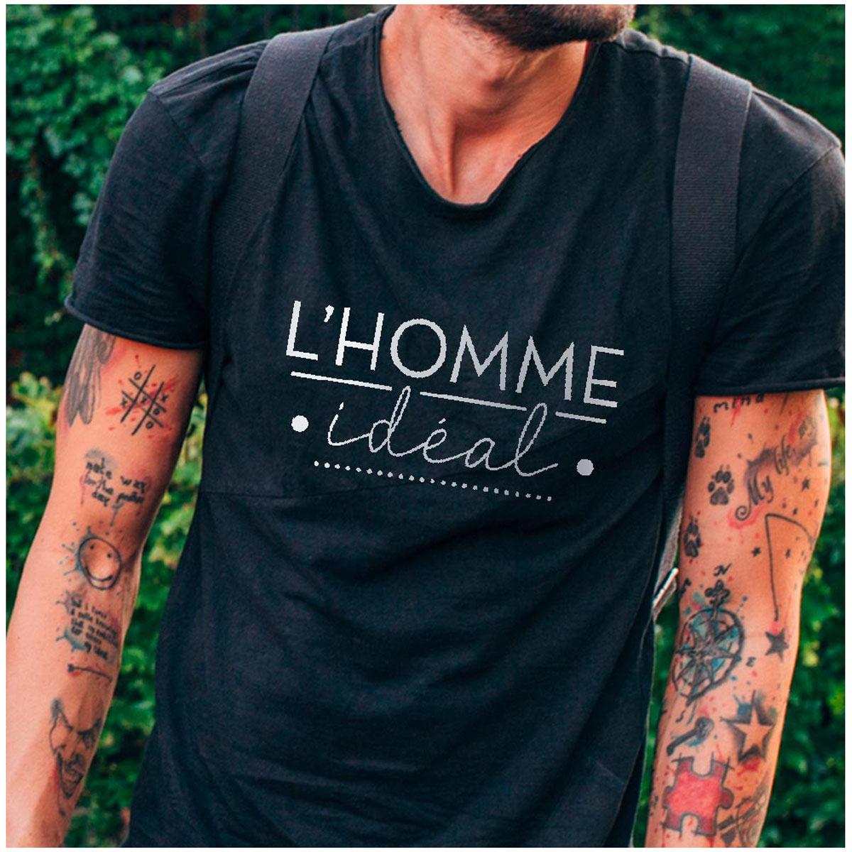 T-shirt coton \'l\'Homme Idéal\' noir - taille M - [A2718]