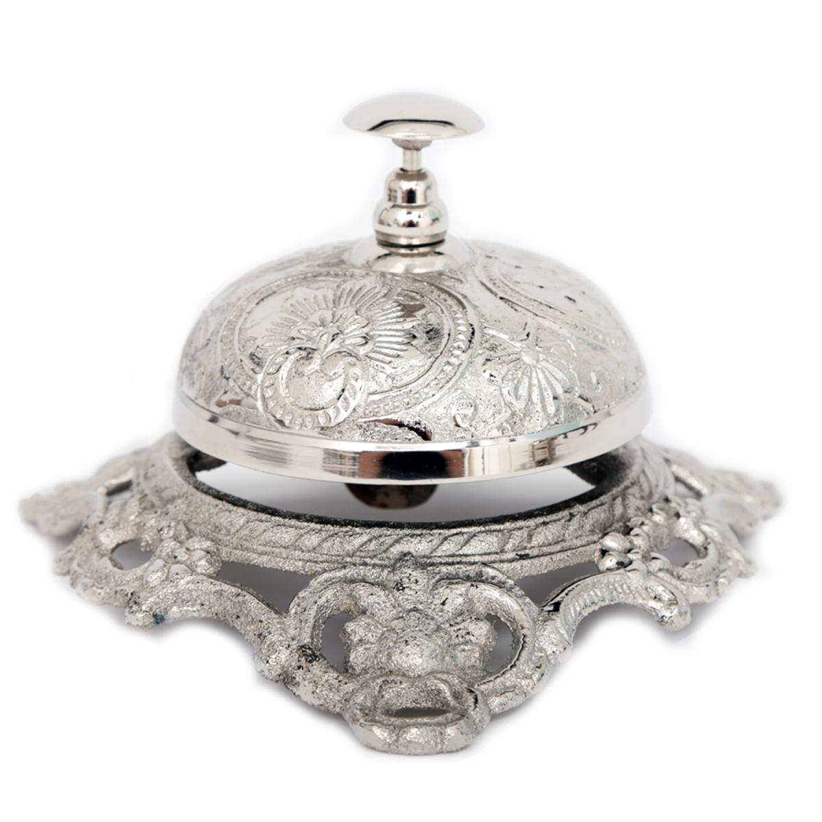 Cloche de Service vintage \'Empire\' argenté vieilli - 8x14 cm - [A3097]
