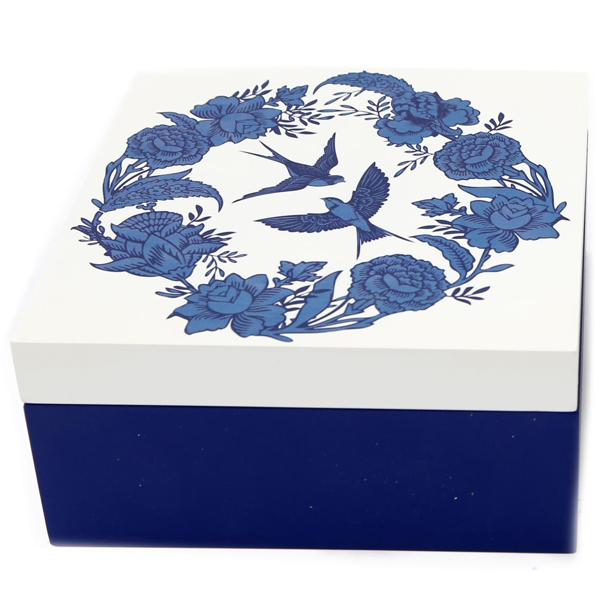 Boite de rangement bois \'Jardin Botanique\' bleu blanc - 18x18x9 cm - [A3098]