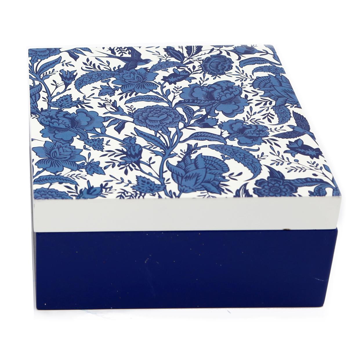 Boite de rangement bois \'Jardin Botanique\' bleu blanc - 18x18x9 cm - [A3099]