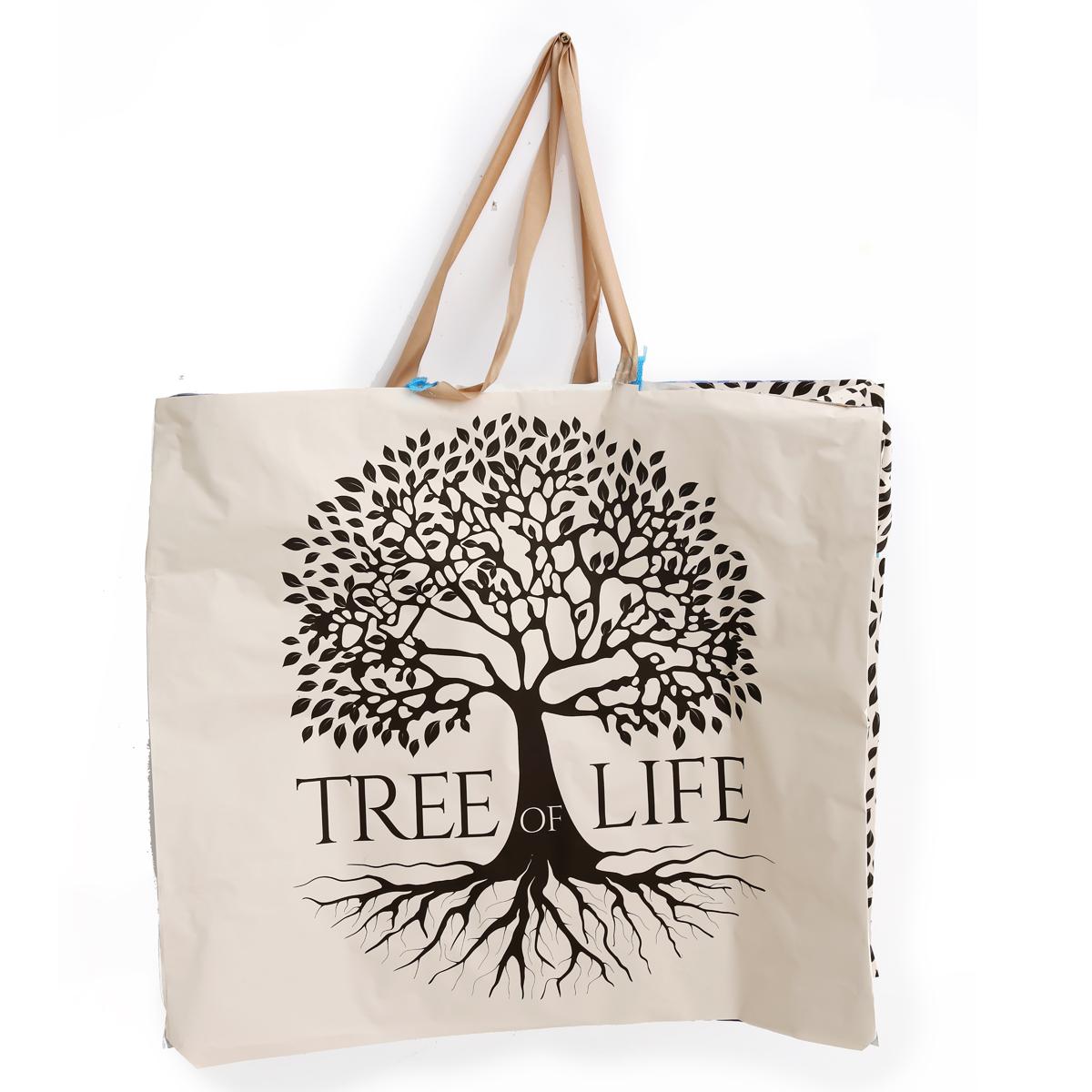 Méga sac Shopping plastique \'Arbre de Vie\' beige - 65x55x30 cm - [A3106]