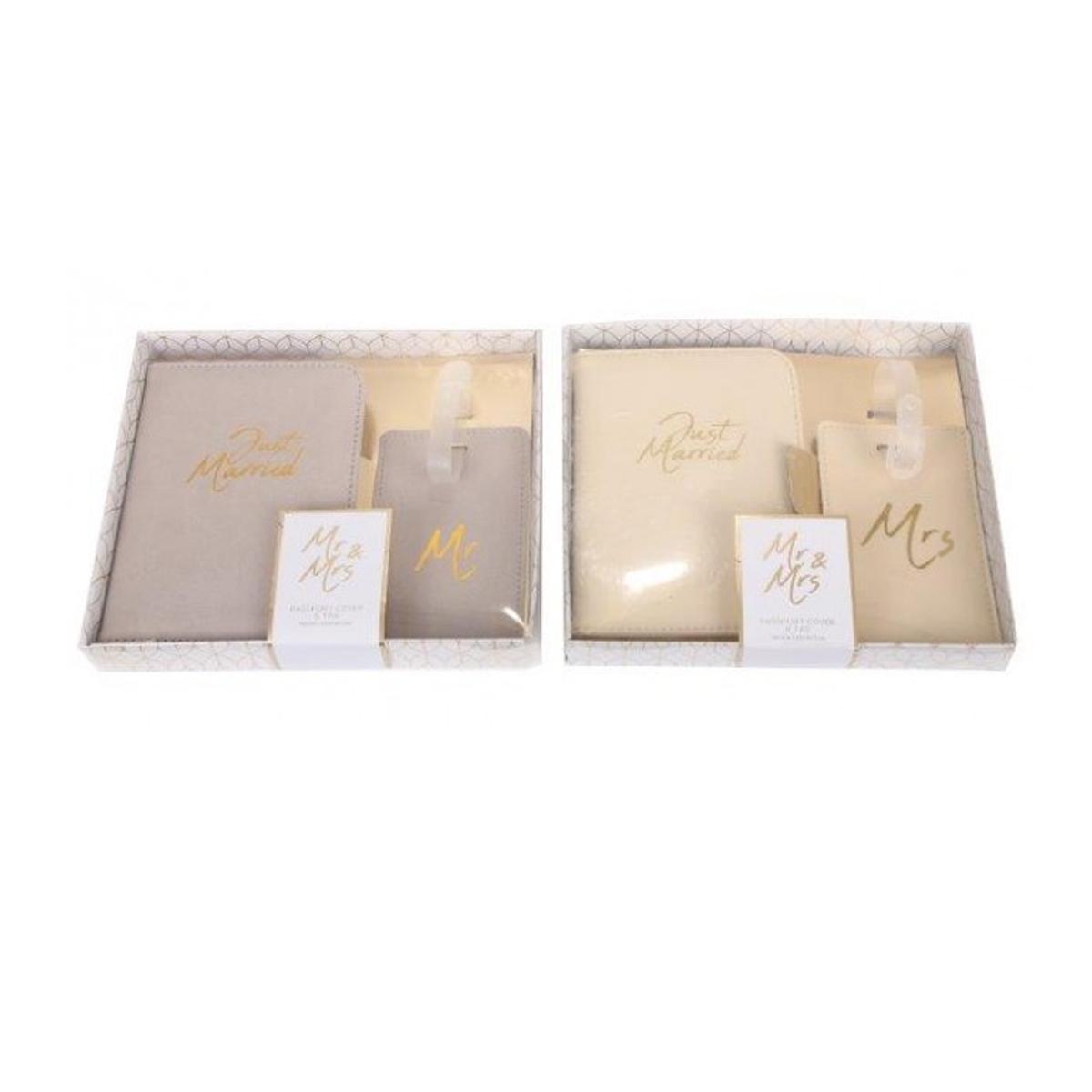 Kit voyage lune de miel \'Mr & Mrs\' gris beige - porte passeports et étiquettes bagages - [A3107]