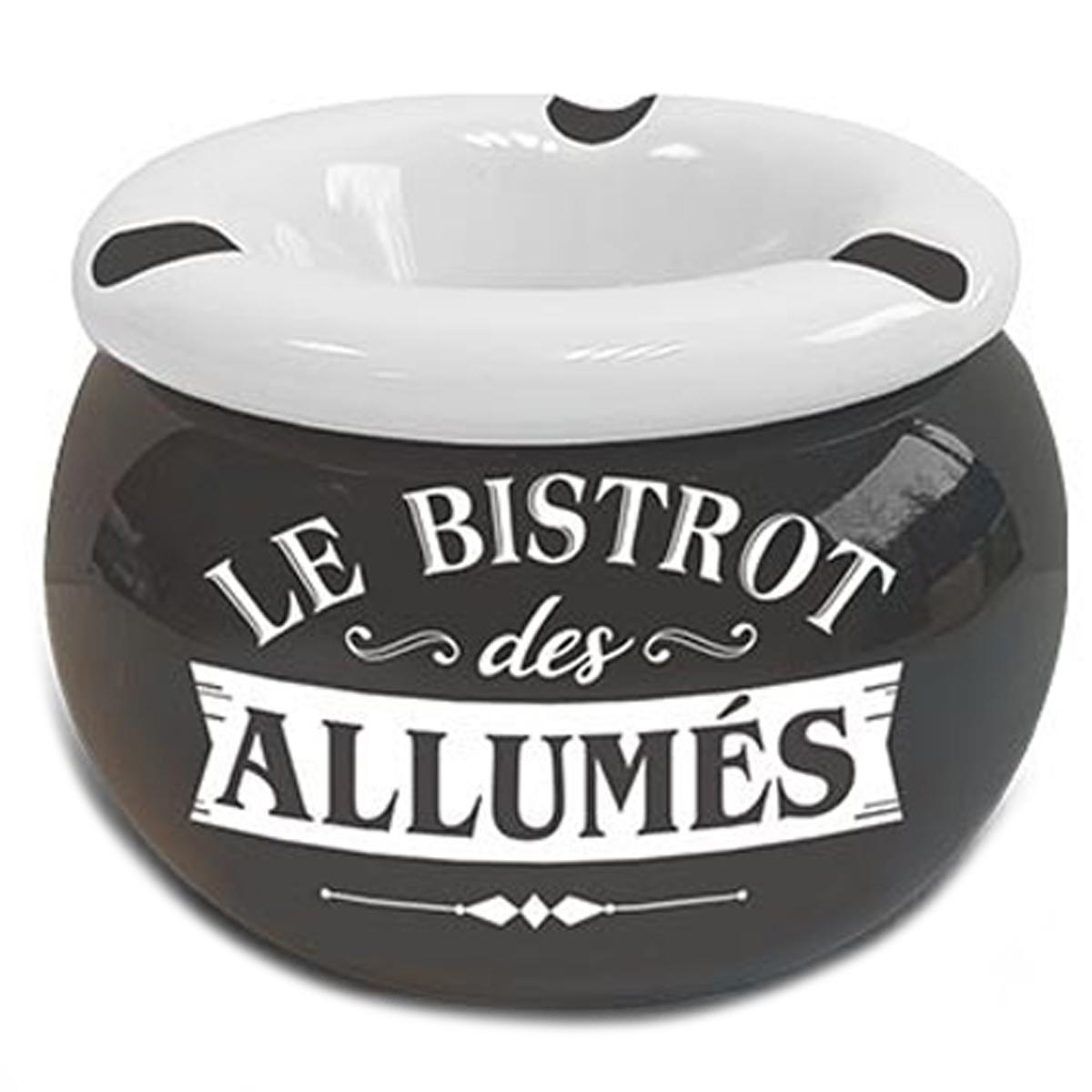Cendrier marocain céramique \'Messages\' gris (Le Bistrot des Allumés) - 9x6 cm - [A3148]