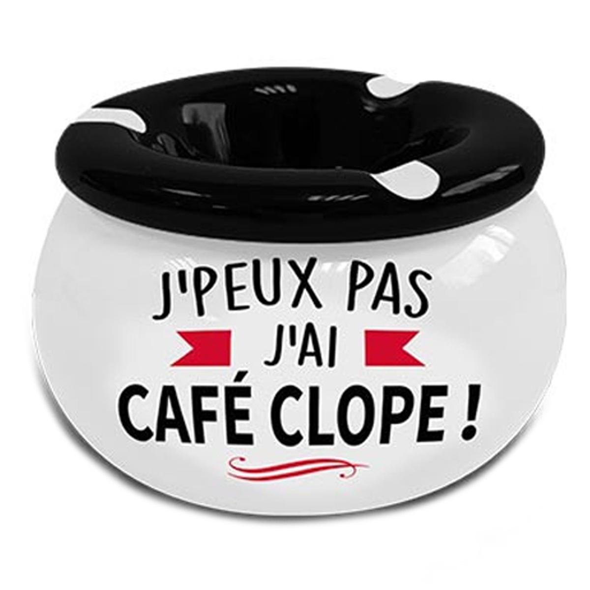 Cendrier marocain céramique \'Messages\' blanc noir (J\'peux pas, j\'ai Café Clope !) - 9x6 cm - [A3152]