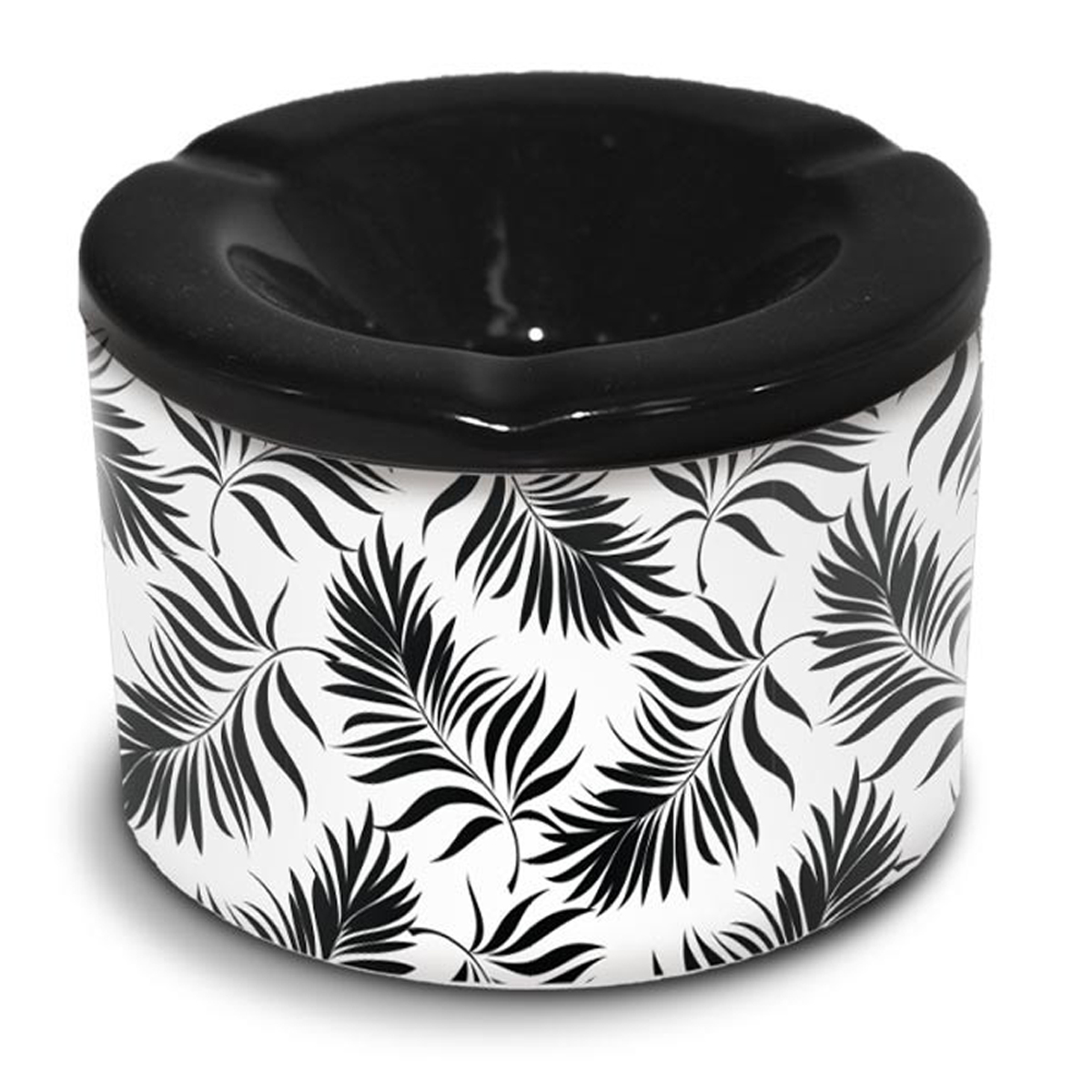 Cendrier marocain céramique \'Tropical\' noir blanc  (feuilles) - 10x7 cm - [A3153]
