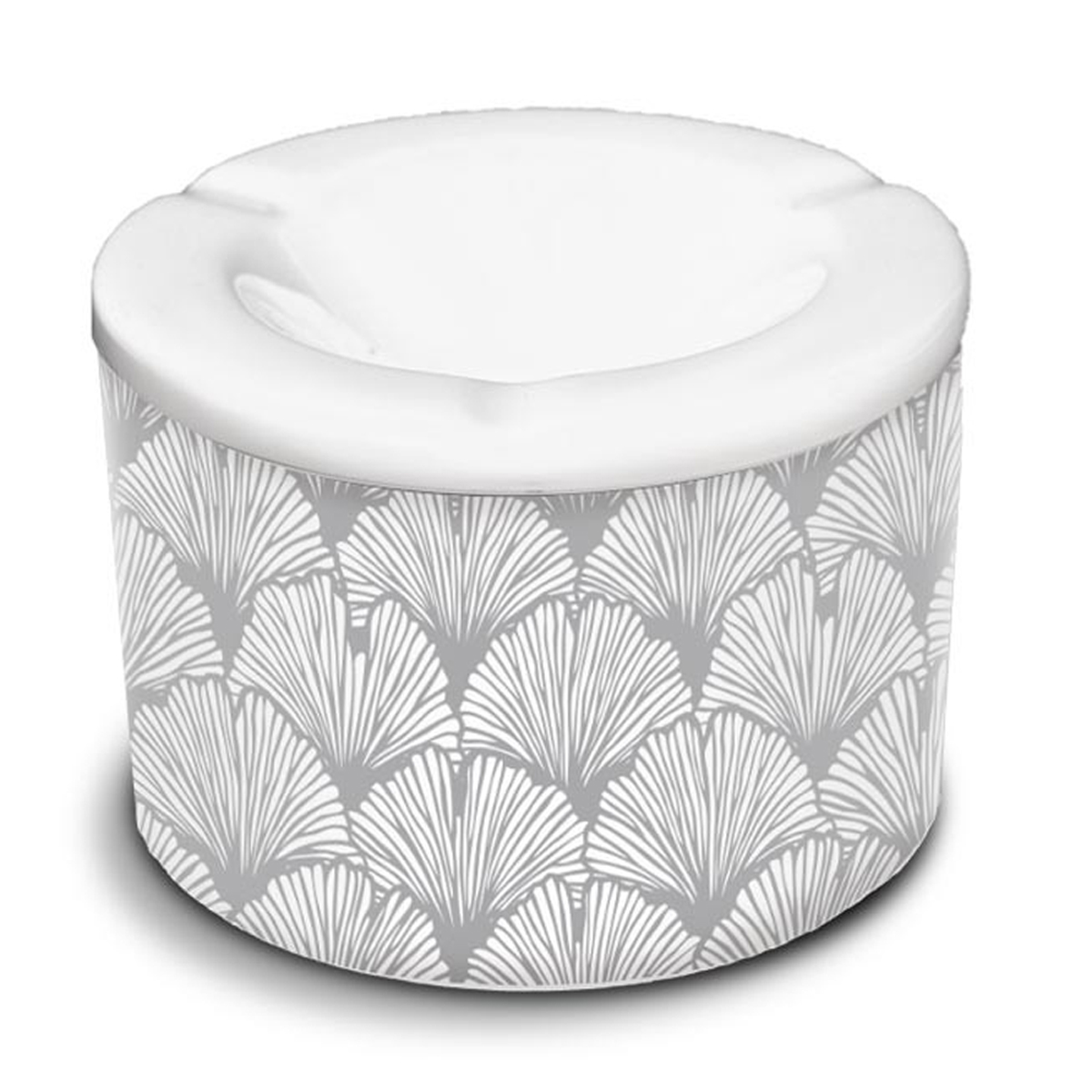 Cendrier marocain céramique \'Ginkgo Biloba\' gris - 10x7 cm - [A3154]