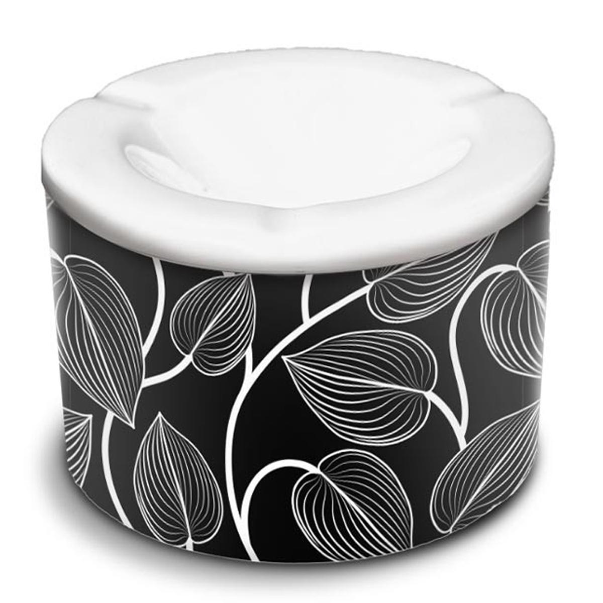Cendrier marocain céramique \'Tropical\' noir blanc  (feuilles) - 10x7 cm - [A3155]