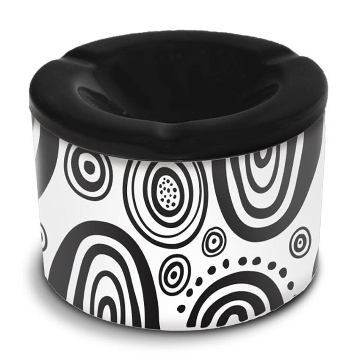 Cendrier marocain céramique \'Tropical\' noir blanc  (cercles) - 10x7 cm - [A3156]