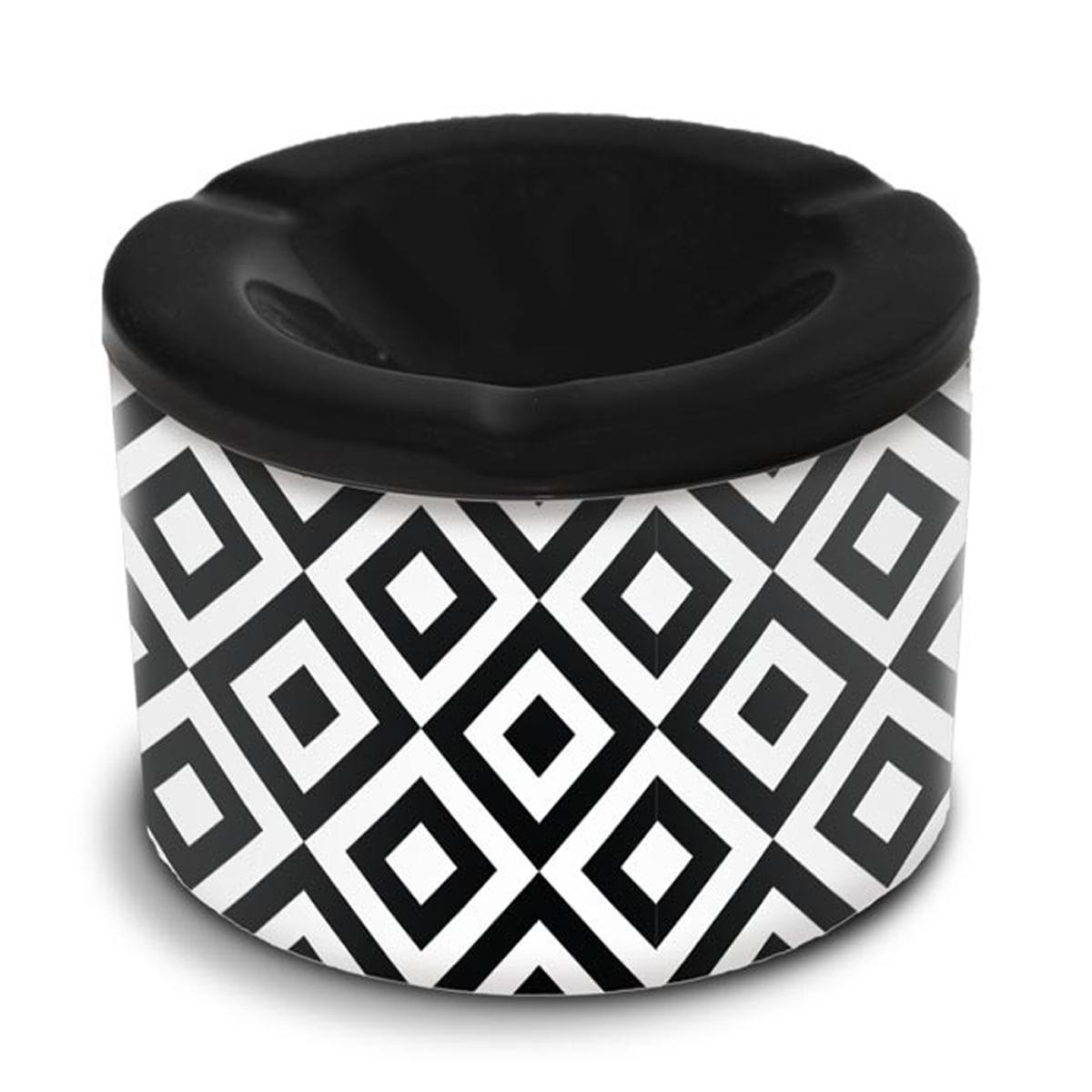 Cendrier marocain céramique \'Tropical\' noir blanc  (losanges) - 10x7 cm - [A3157]