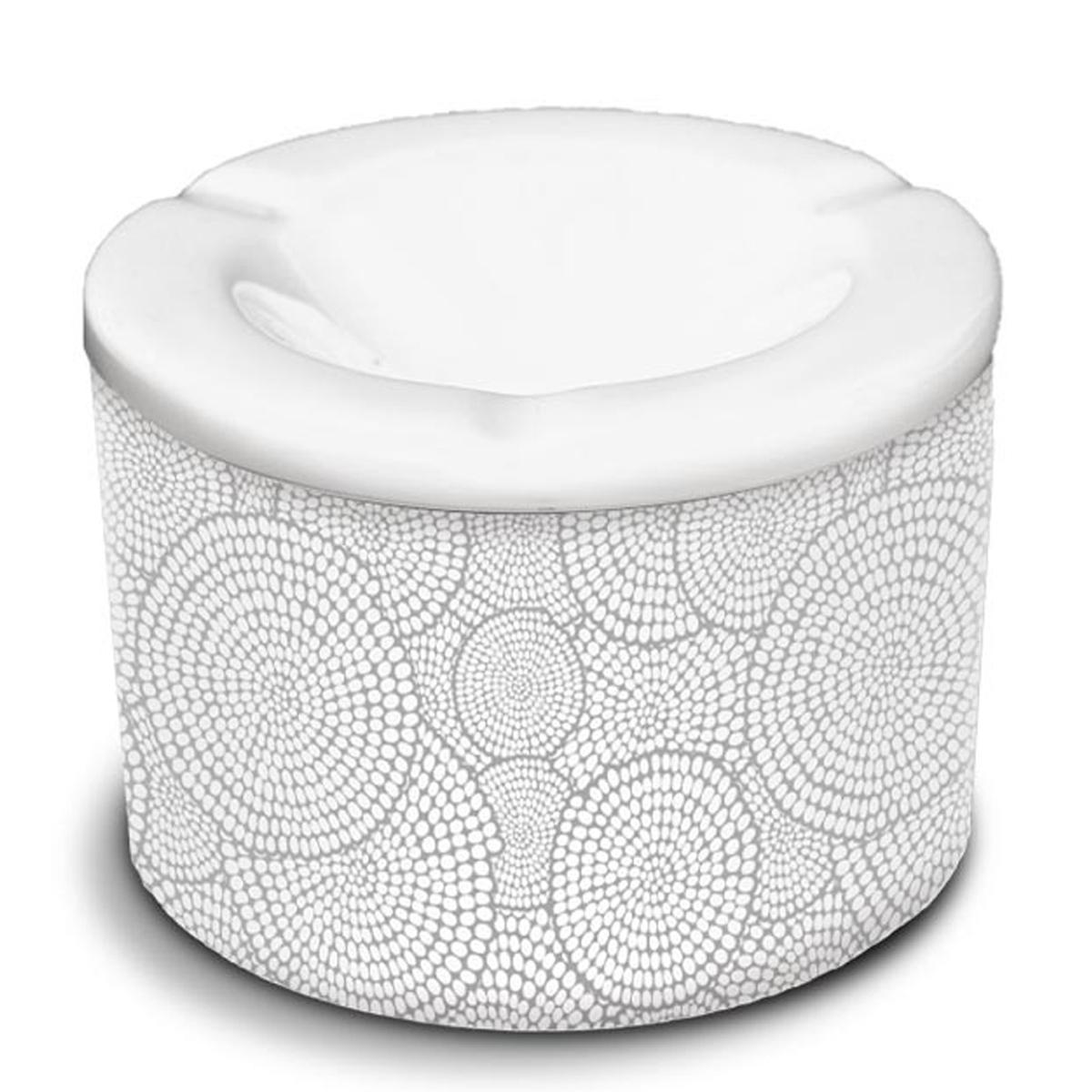 Cendrier marocain céramique \'Tropical\' noir blanc  (cercles escargots) - 10x7 cm - [A3158]