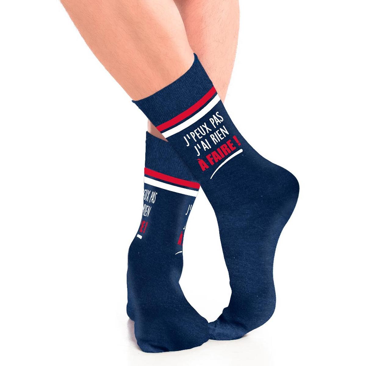 Chaussettes coton humoristiques \'Messages\' bleu (j\'peux pas, j\'ai rien à Faire !) - taille unique - [A3167]