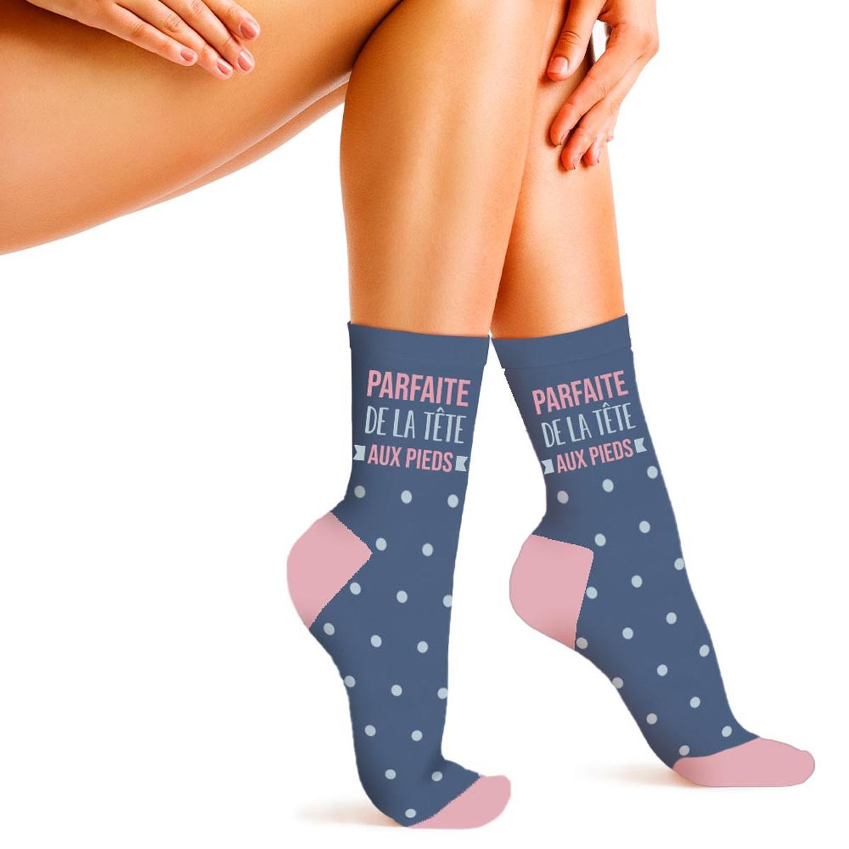 Chaussettes coton humoristiques \'Messages\' bleu (Parfaite de la Tête aux Pieds) - taille unique - [A3170]