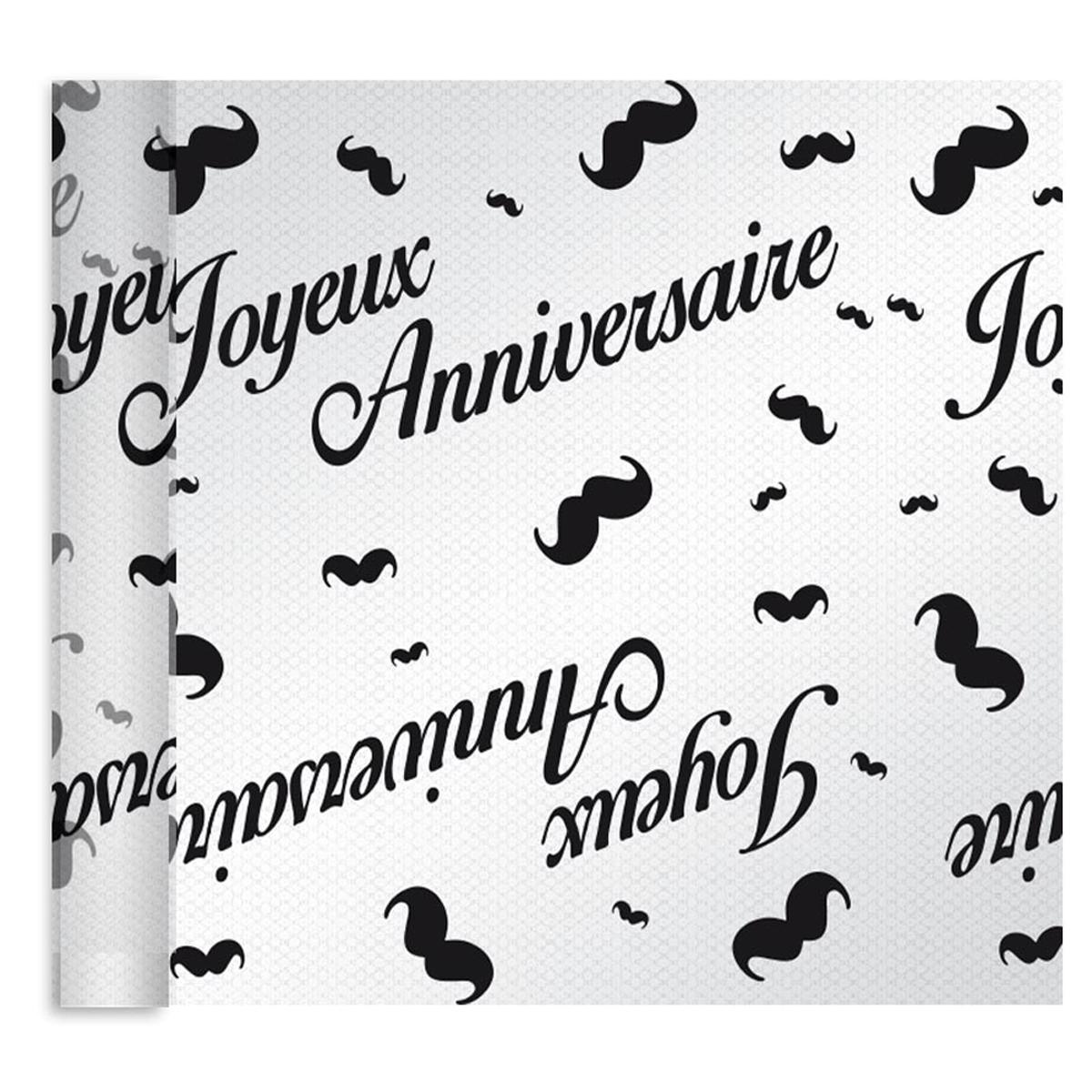 Chemin de table voile pailleté \'Joyeux Anniversaire\' noir (moustaches) - 4 m x 28 cm - [A3172]