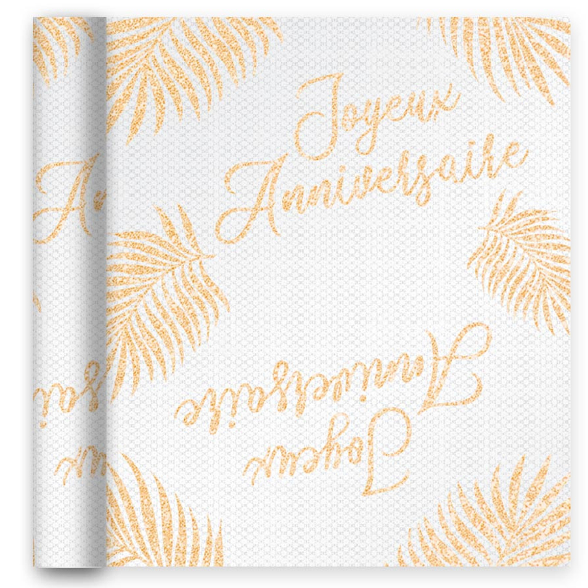 Chemin de table voile pailletté \'Joyeux Anniversaire\' doré rosé (tropical, monstera) - 4 m x 28 cm - [A3173]