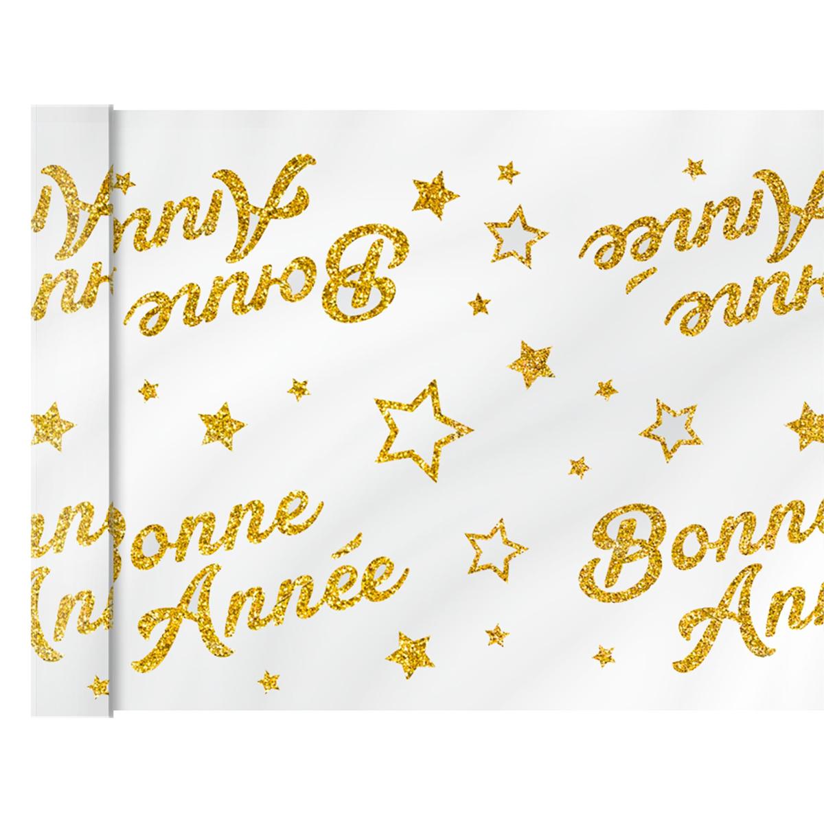 Chemin de table voile pailleté \'Bonne Année\' doré - 4 m x 28 cm - [A3174]