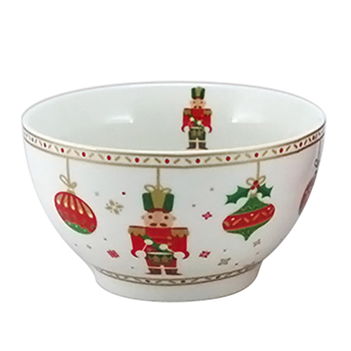 Bol porcelaine \'Casse-Noisette\' blanc rouge vert (Noël) - 13x7 cm (48 cl) - [A3184]