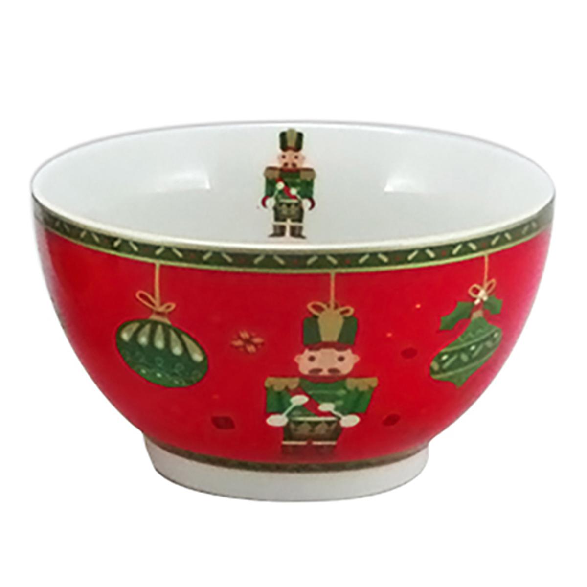 Bol porcelaine \'Casse-Noisette\' rouge vert (Noël) - 13x7 cm (48 cl) - [A3185]