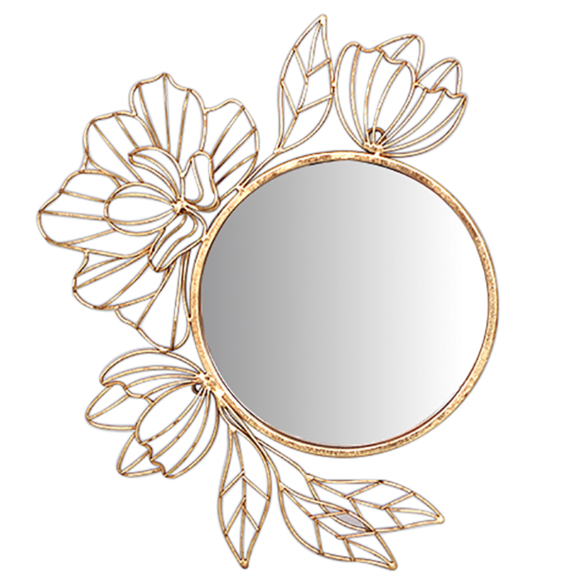 Miroir métal \'Osaka\' doré - 46x39x4 cm (fleurs) - [A3191]