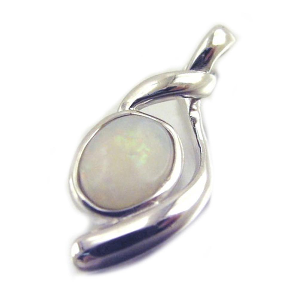Pendentif Argent artisanal \'Déesse Opale\' blanc argenté (rhodié) - 20x8 mm - [E8666]