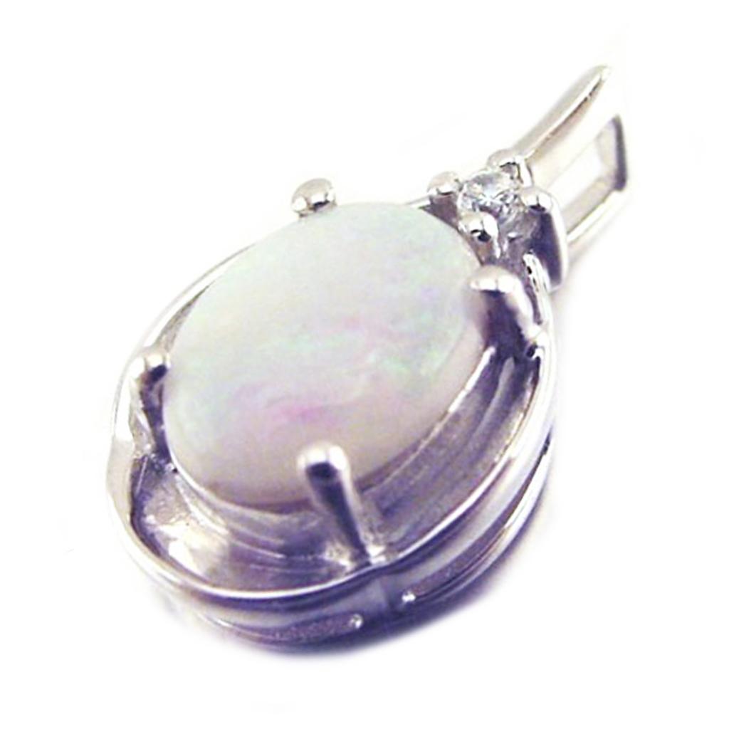 Pendentif Argent artisanal \'Déesse Opale\' blanc argenté (rhodié) - 15x9 mm - [E8669]